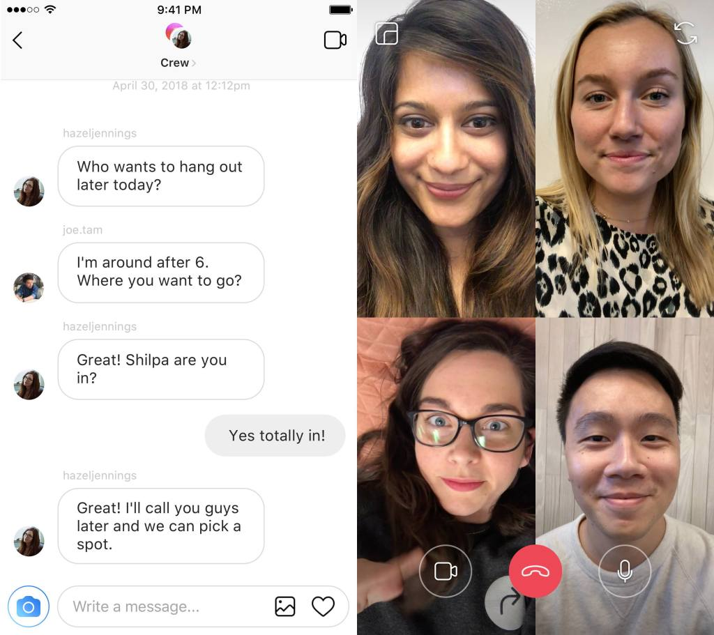 instagram group video chat example