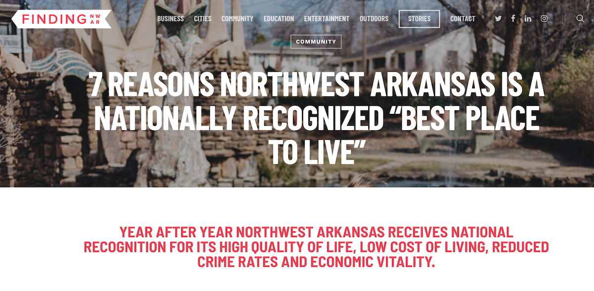 "7 Reasons Northwest Arkansas is a Nationally Recognized ""Best Place To Live"""